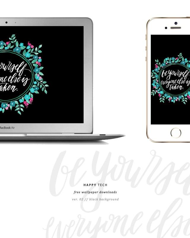 free wallpaper, free downloads, free desktop wallpaper, freebies, This Little Street, Happy Tech, hand lettering, calligraphy, watercolor